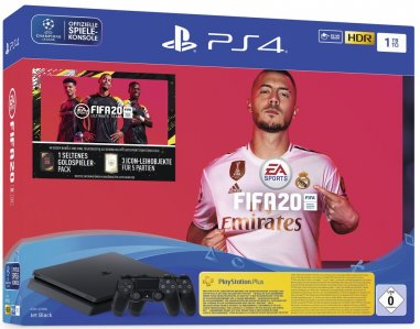 PlayStation 4 Slim 1000GB HDR VR Ready + FIFA 20 + 2x kontroler + bon 30€ (PS4 Slim 1TB)