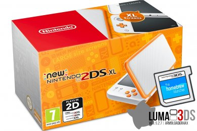 New Nintendo 2DS XL oranžen + Luma3DS + Face Riders + microSD 4GB + napajalnik