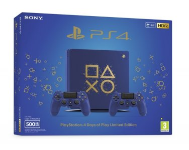 PlayStation 4 Slim Days of Play Edition 500GB HDR + Fortnite + VR Ready + bon 30€ (PS4 Slim)