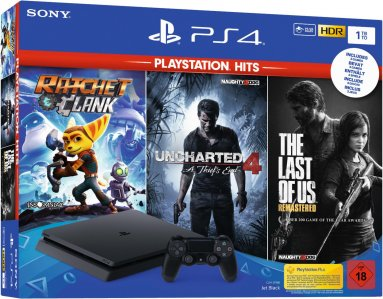 PlayStation 4 Slim 500GB HDR VR Ready + Uncharted 4 + Ratchet & Clank + The Last of Us + bon 30€ (PS4 Slim)