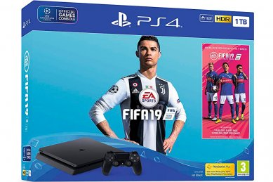 PlayStation 4 Slim 1000GB HDR VR Ready + FIFA 19 + bon 30€ + paysafecard 10€ (PS4 Slim 1TB)