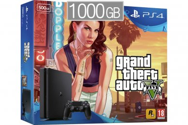 PlayStation 4 Slim 1000GB HDR VR Ready + Grand Theft Auto 5 + bon 30€ (PS4 Slim 1TB)