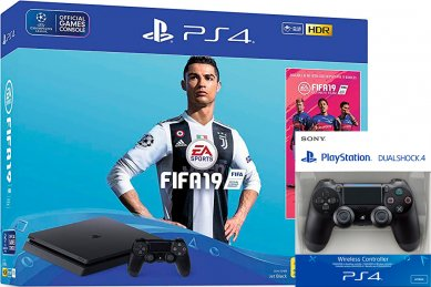 PlayStation 4 Slim 500GB HDR VR Ready + FIFA 19 + 2x kontroler + bon 30€ (PS4 Slim)